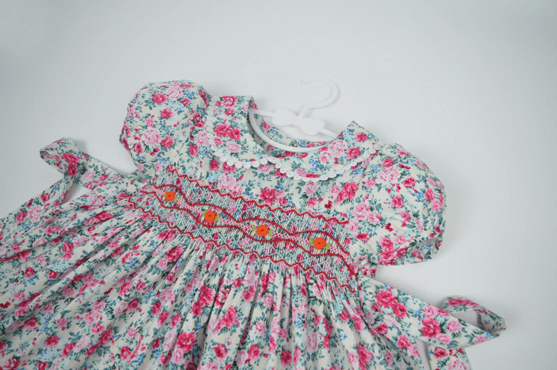 Cute Floral Hand Smocked & Hand Embroidered,2T to 7T