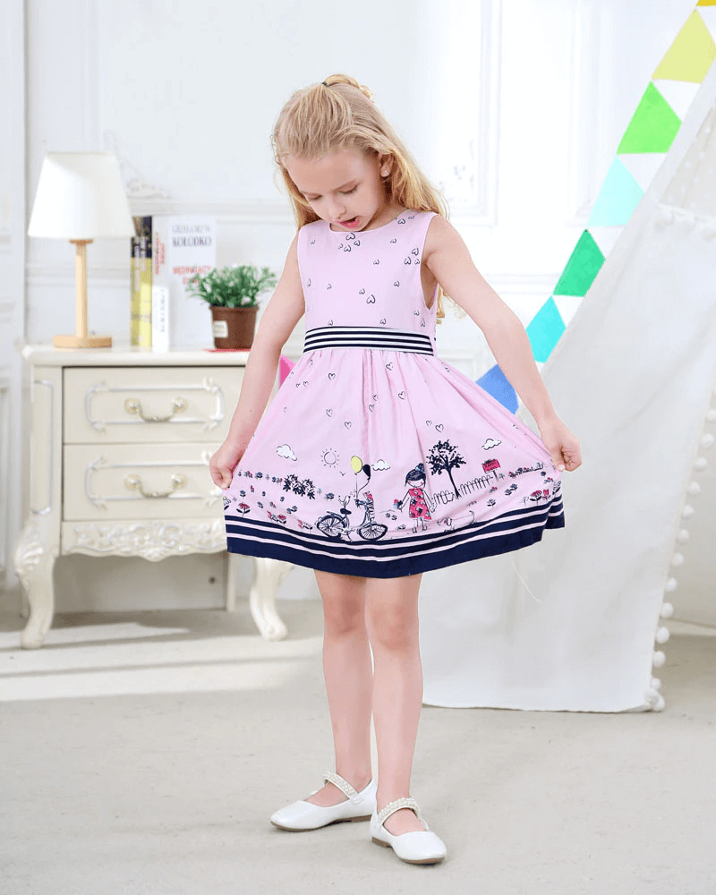 Cute bicycle print summer dress, 2T to 6T.