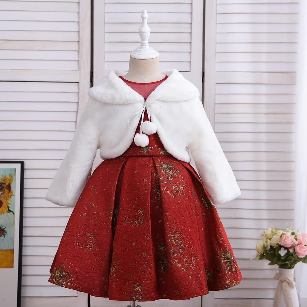 Elegant Princess Coat Dress,Red/Blue,4T to 11T