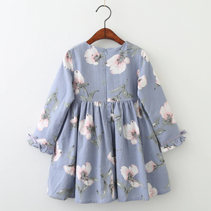Fall Long Sleeve Floral Print Dress, Blue/Yellow,3Y to 7Y.