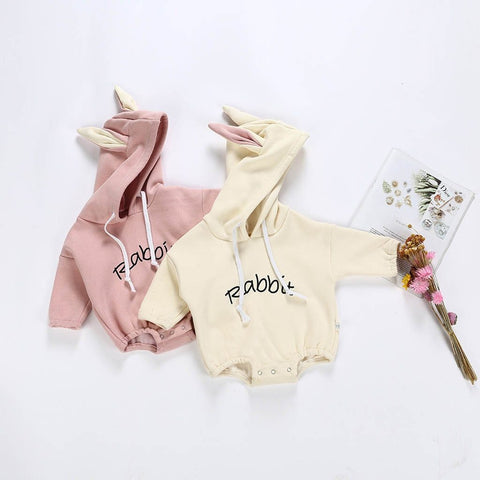 Girl Boy Rabbit Sweatshirt Romper - Dream Town Store