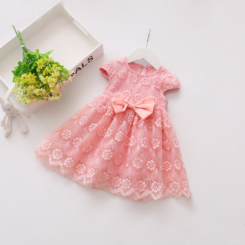 Summer Baby Girl Lace Dress,Pink/Purple/Yellow,Size: 6M to 3Y.