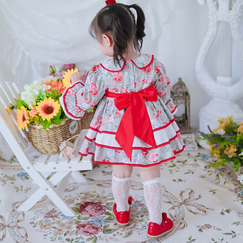 Red Floral Vintage Spanish Dress With Shorts,12M to 12T.
