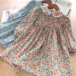 Beautiful Floral Print Fall Dress,Blue/Red,2Y-7Y.
