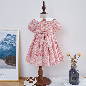 Hand Smocked Dress With Embroidery on Collar,12M to 6T.