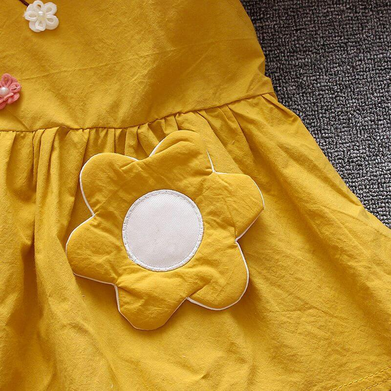 Cotton Dress With Embroidery & Patch Work, White/Pink/Yellow,18M-5Y