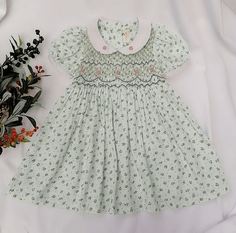 Green Floral Hand Smocked Dress,3T to 8T.