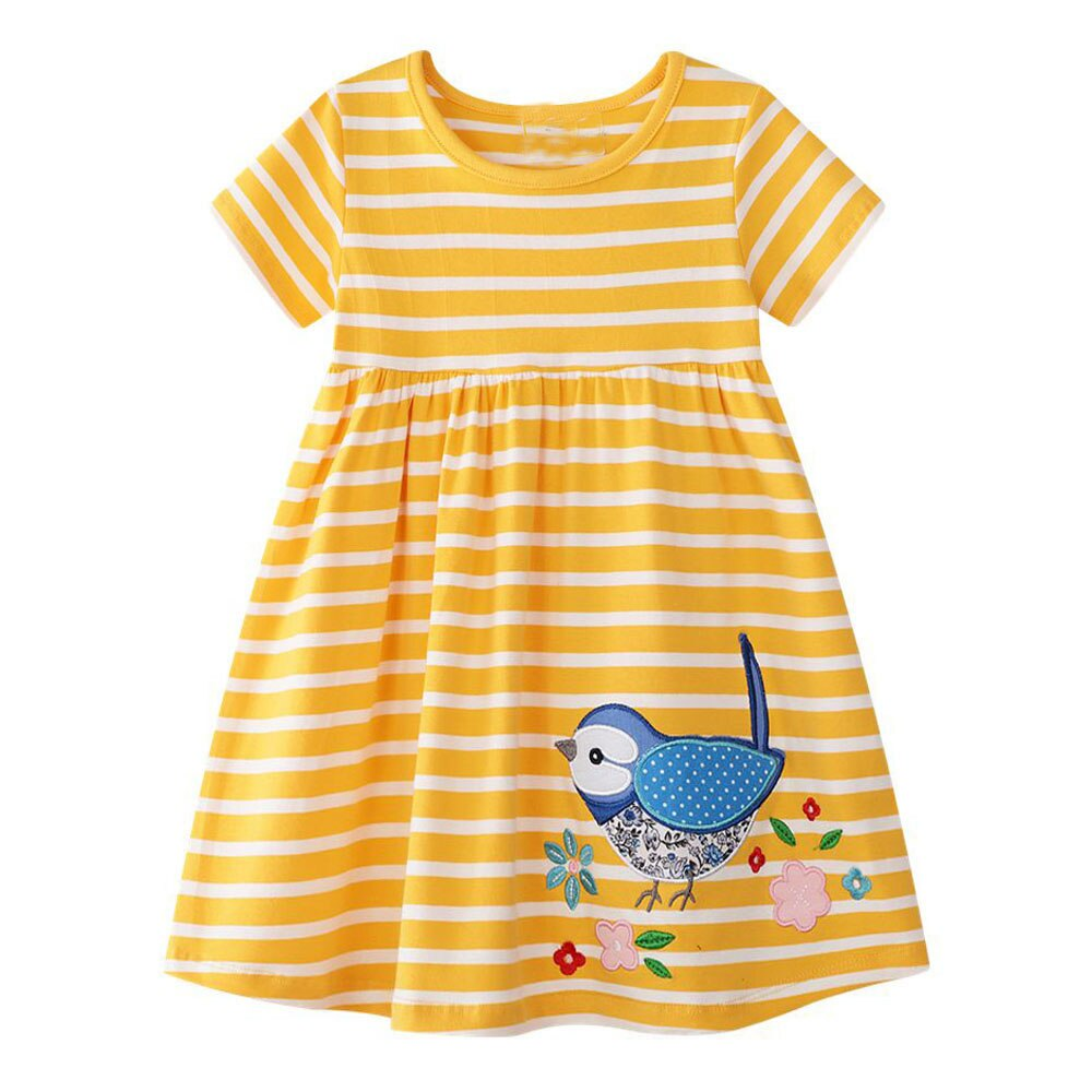 Cute Applique Dress,Cotton, 2 to 7Y.