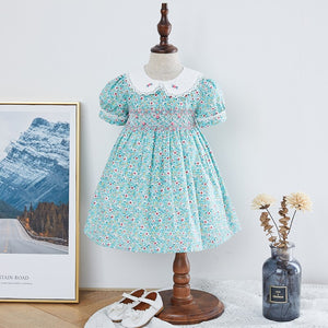Floral Hand Smocked Dress,12M to 6T.