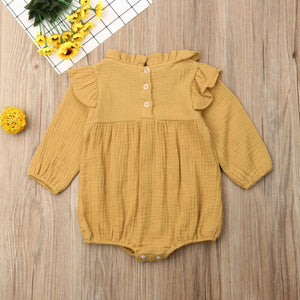 Vintage Style Flower Embroidery Floral Romper Jumpsuit,6M-24M