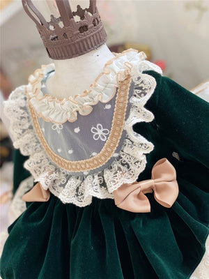 Green Velvet Vintage Spanish Dress,12M to 8T.