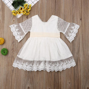 Lovely Casual/Party Summer Flower Girl Dress, White,3M to 5Y.