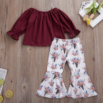 Toddler Off Shoulder Top & Bell-Bottom Pants, 2Y-6Y.