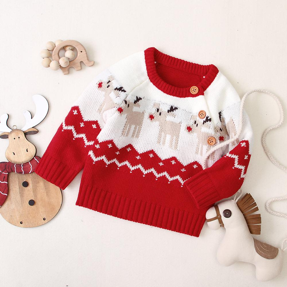 Christmas Themed Knitted Sweater,Red/Black,6M to 24M