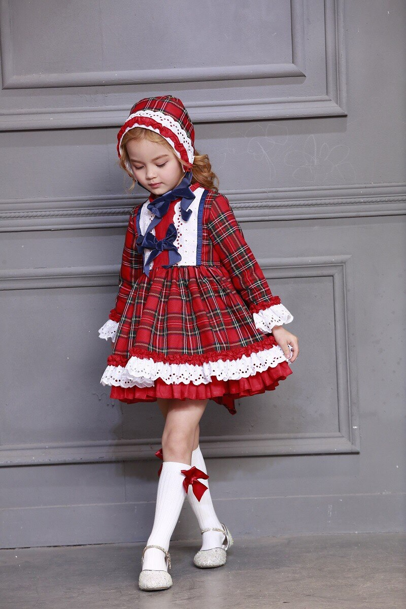 Red Plaid Vintage Spanish Dress with Hat & Shorts,12M to 12T.