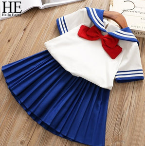 Sailor Bow Top+Blue Pleated Skirt - Dream Town Store