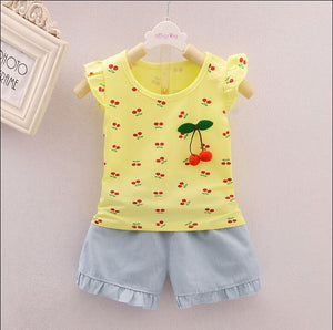 Cute Cherry Print Summer Top with Shorts,Pink/Yellow,1Y-4Y.