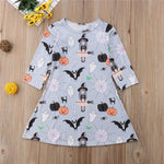 Pumpkin Halloween Print Full Sleeves Dress,2Y to 6Y.