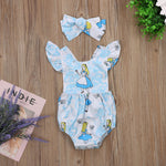Ruffle Romper With Headband,Cotton,Blue,Size 6M to 24M