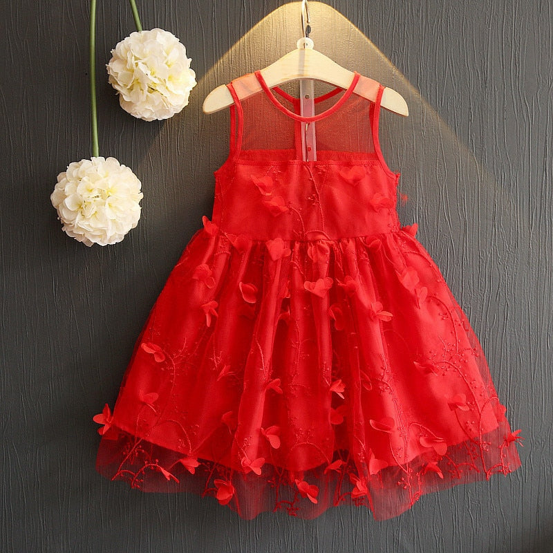 Sleeveless Birthday Party Dress, Red/Yellow,Size 18M to 2Y