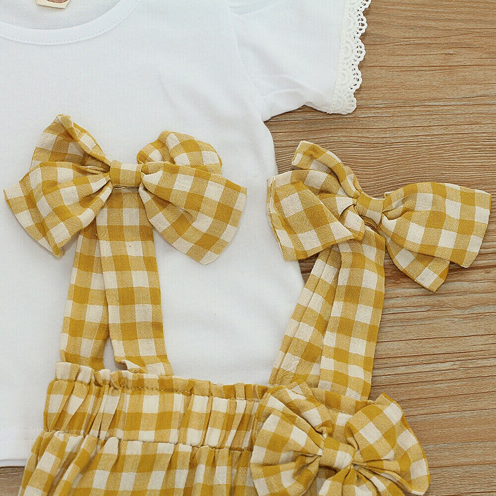 White T-shirt Top & Plaid Print Overall Bib Pants, Size: 6M to 24M - Dream Town Store