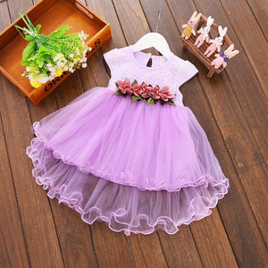 Summer Party Tulle Flower Dresses, Yellow,Purple,White,Peach/0-3Y
