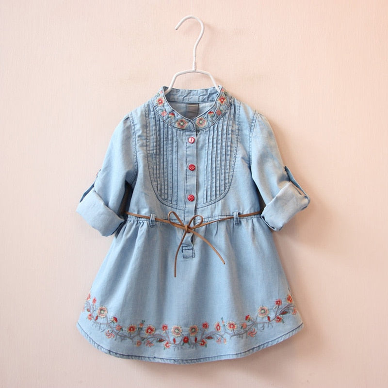 Short Sleeves Denim Embroidered Dress With Belt,3Y to 12Y.