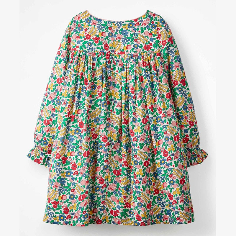 Floral O-Neck Full Sleeves Dress With Embroidery,Cotton,2Y to 7Y.