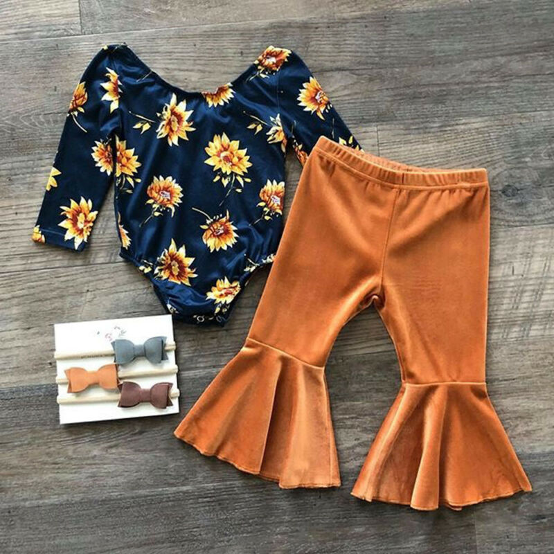 Floral Tops Romper & Velvet Long Pants,0 to 24 M.