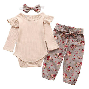 Ruffle Romper For Girls With Pants & Headband, Cotton, 3M to 24M. - Dream Town Store