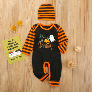 Cute First Halloween Romper With Hat, 6M to 24M.