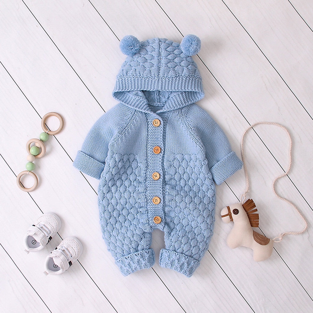 Children's Fur Ball Hooded Knitted One-piece Romper,6M to 24M.