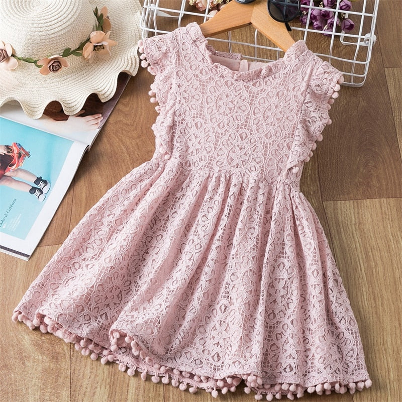 Summer Lace Dress,Color: Yellow,Pink,Green,Size 3 to 8 Y