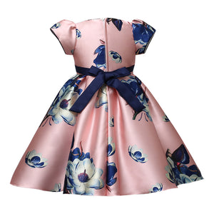 Birthday Floral Print Dress With Bow Waistband,Pink/Blue/White,3 to 8Y