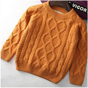 Unisex Knitted Warm Sweater For Kids,White/Red/Blue/Brown,2T to 10T.