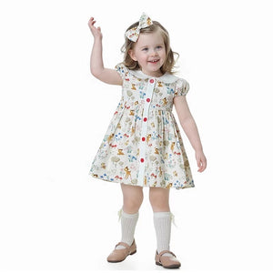 Cute Animal Print Peter Pan Collar Dress,12M to 6T
