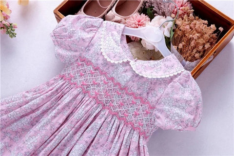 Pink Floral Hand Smocked Dress With Embroidered Bows,2T to 7T.