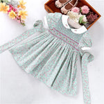Floral Hand Smocked Dress With Bullion Rose Embroidery,2T to 7T.