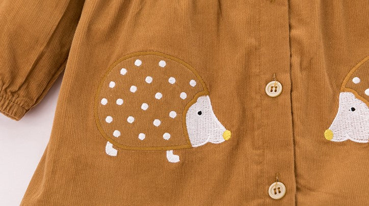 Cute Hedgehog Applique Fall Dress,Cotton,18M to 6T.