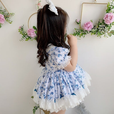 2Pc Blue Floral Spanish Princess Dress,12M to 6T