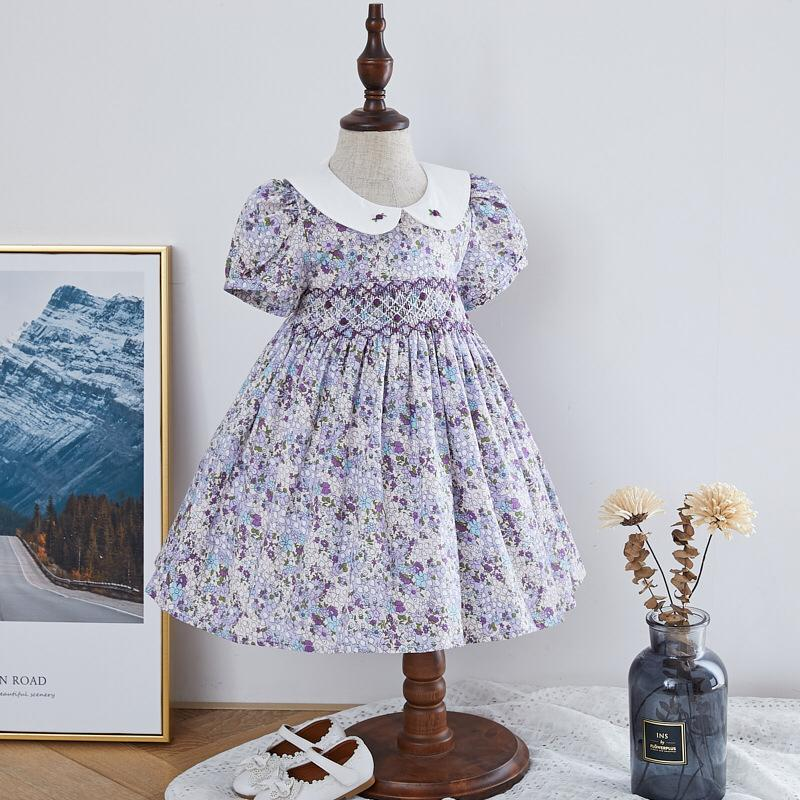 Hand Smocked Dress With Embroidery on Collar, 12M to 6T.