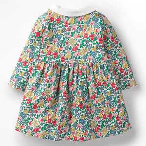 Floral Peter Pan Collar Dress,Cotton,2Y to 7Y.