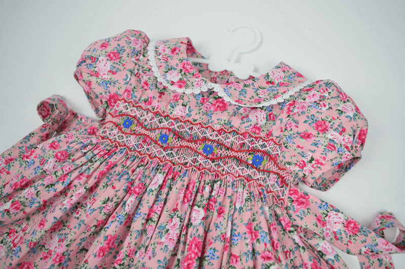 Pink Floral Hand Smocked Dress,2T to 7T.