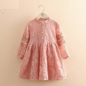 Vintage Style Pearl Lace Fall Dress,Pink/White,2Y to 12Y.