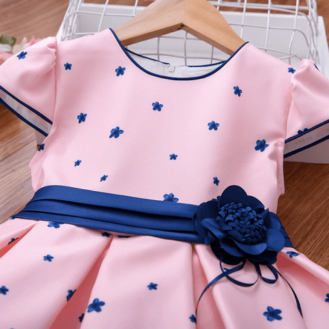 Floral Print Dress, 3T to 10T,Pink/Blue.