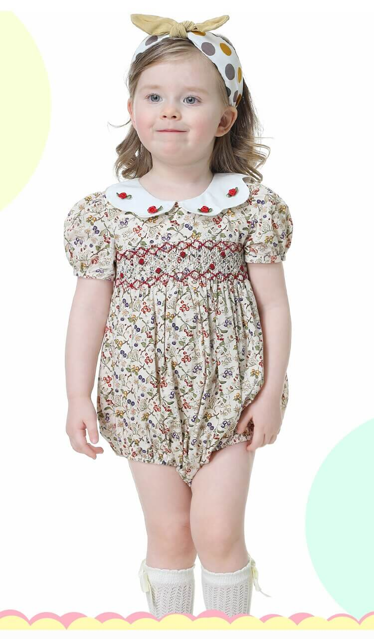 Hand Smocked Floral Romper,6M to 4T.