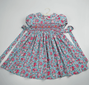Blue Floral Hand Smocked & Hand Embroidered,2T to 7T.