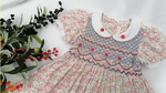 Floral Vintage Hand Smocked Dress,3T to 8T.