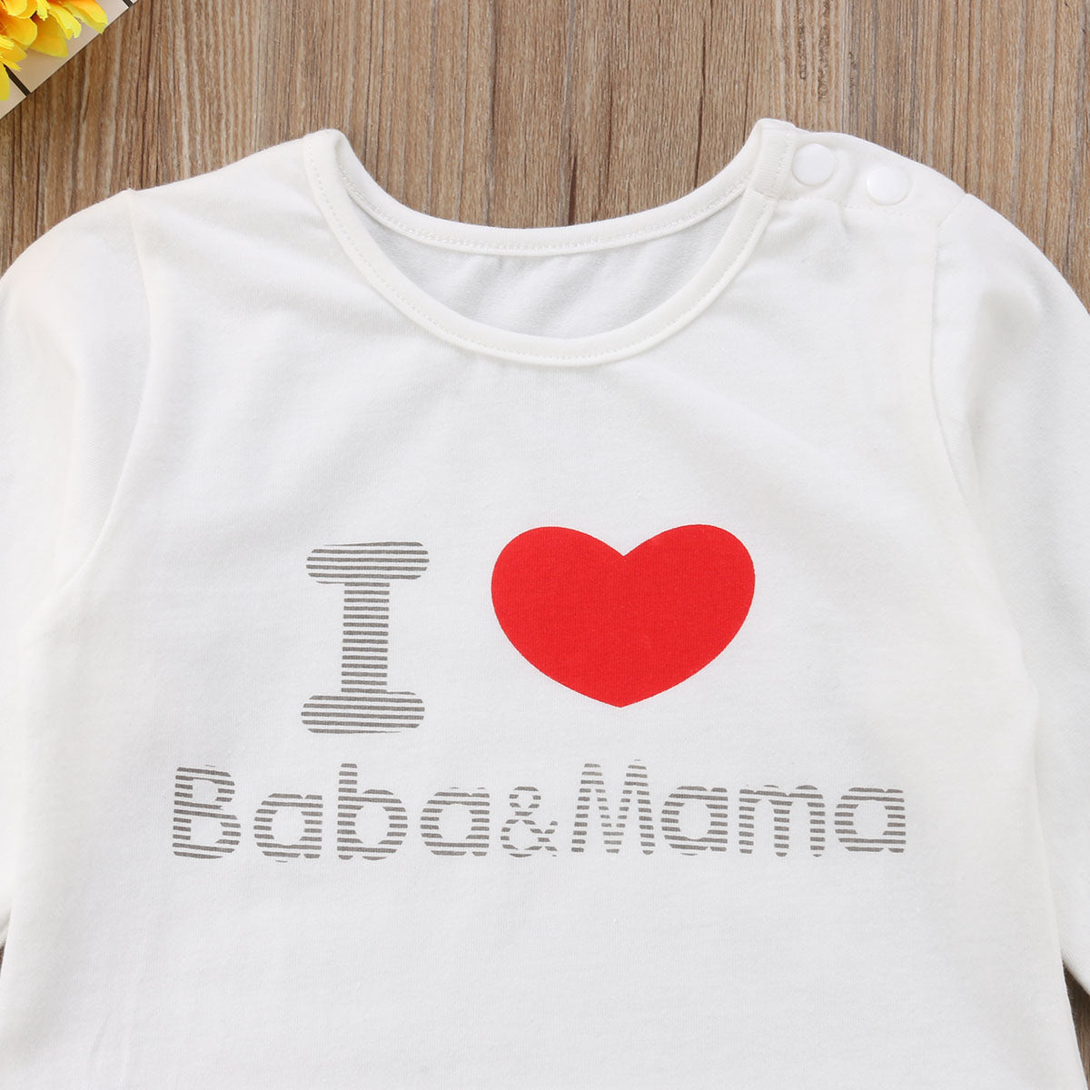 Cute I Love Baba Mama Romper, 6M to 18M.