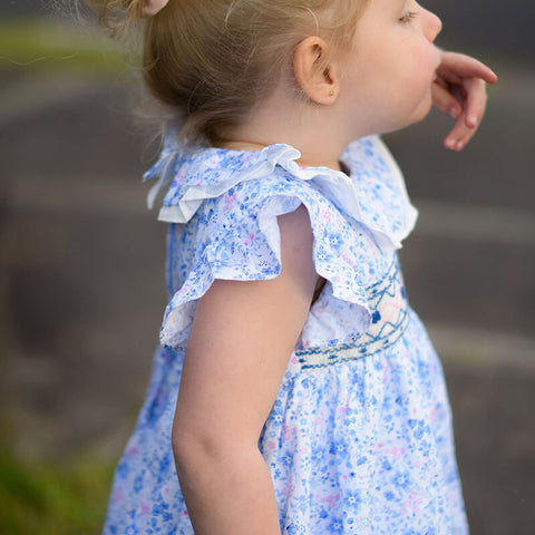 Gorgeous Hand Smocked Dress With Ruffle Sleeves,12M to 6T